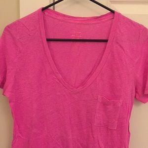 Jcrew retail pink linen tshirt